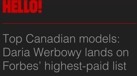 HELLO MAGAZINE TOP 10 CANADIAN SUPERMODELS